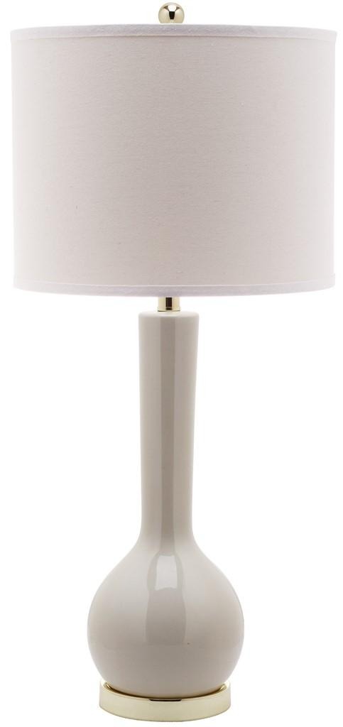 "Safavieh Mae Table Lamp Long Neck Ceramic 30.5"" Light Grey Off White Gold Cotton LITS4091F 683726649595"