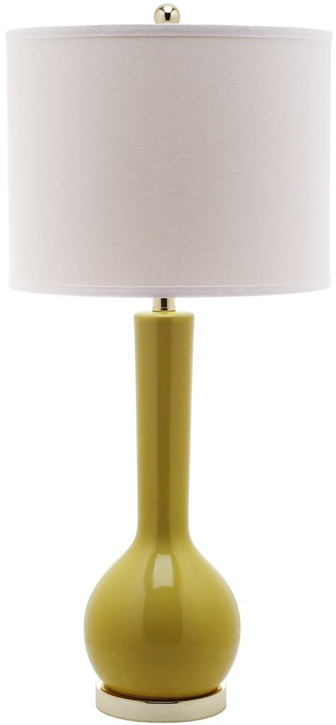 "Safavieh Mae Table Lamp Long Neck Ceramic 30.5"" Mustard Gold Off White Cotton LITS4091H 683726660842"