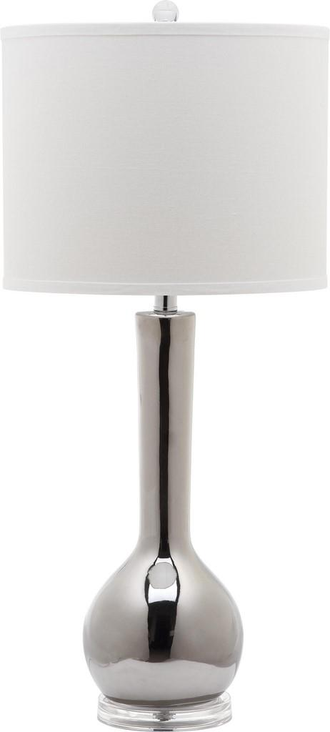"Safavieh Mae Table Lamp Long Neck Ceramic 30.5"" Silver Off White Clear Cotton LITS4091M 683726664529"
