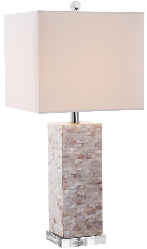"Safavieh Homer Table Lamp Shell 26"" Cream White Silver Clear Cotton Polyester LITS4106A 683726653936"