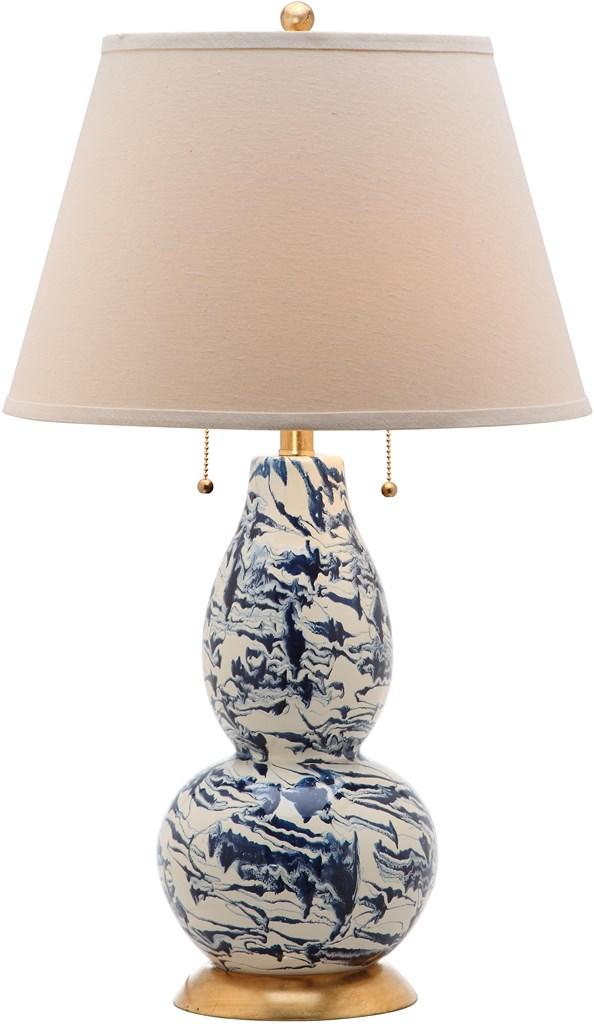 "Safavieh Table Lamp Color Swirls Glass 28"" Navy White Gold Cotton LITS4159A 683726667094"