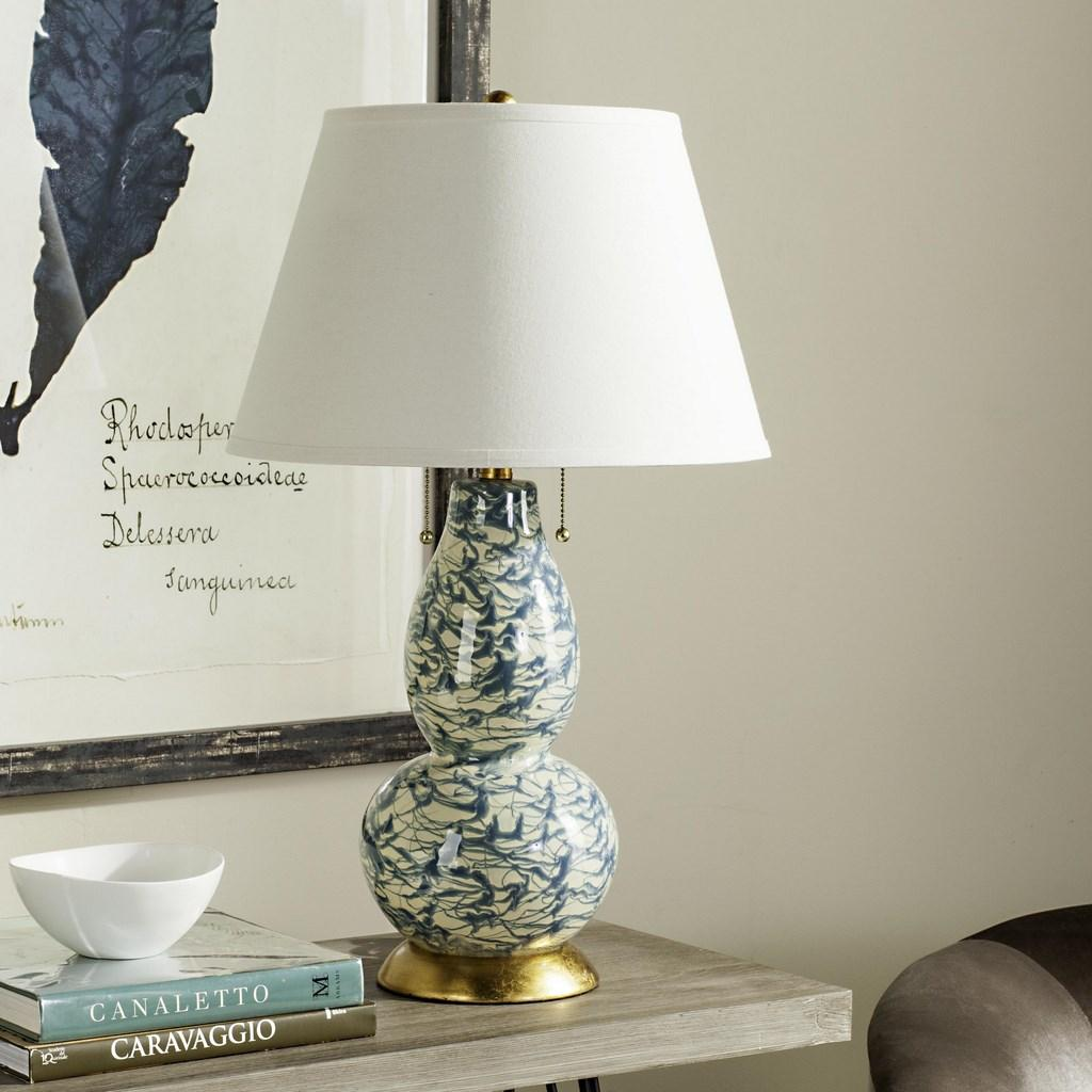 "Safavieh Table Lamp Color Swirls Glass 28"" Light Blue Off White Gold Cotton LITS4159D 683726667131"