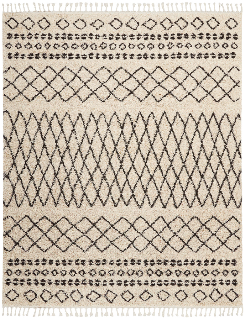 "Moroccan Shag MRS02 Power-loomed 100% Polypropylene Cream 9'2"" x 12'6"" Rectangle Rug"