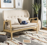 Safavieh Ellaria Loveseat Beige Natural Wood NC Coating Elm Foam Viscose Polyester LVS9500A 889048350427