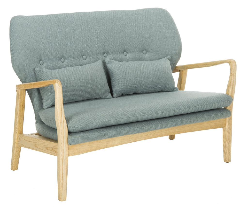 Safavieh Ellaria Loveseat Blue Natural Wood NC Coating Elm Foam Viscose Polyester LVS9500B 889048350434