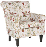 Safavieh Hazina Club Chair White Red NC Coating Hardwood Plywood Birch Foam Cotton Linen MCR1002A 683726465348