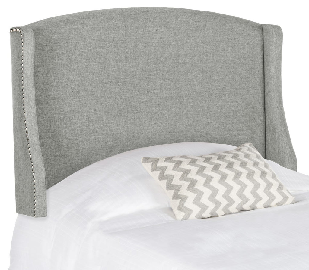 Safavieh Austin Headboard Queen Winged Grey and Silver Fabric Wood Metal Plywood Linen Foam Iron Stainless Steel MCR4002D-Q 889048159310