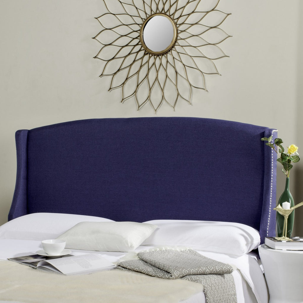 Safavieh Austin Headboard Queen Navy and Silver Fabric Wood Metal Plywood Linen Foam Iron Stainless Steel MCR4002E-Q 889048159341