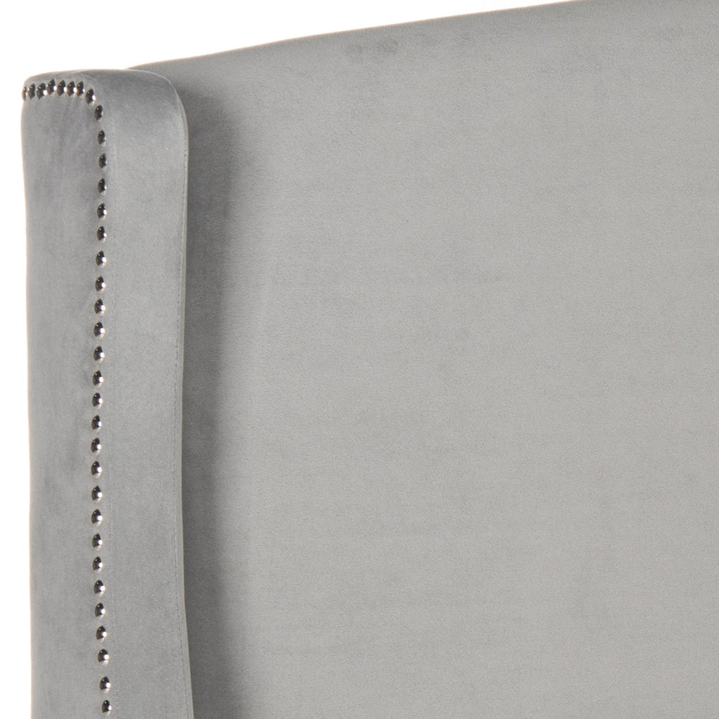 Safavieh Austin Headboard Full Winged Pewter and Silver Fabric Wood Metal Plywood Polyester Foam Iron Stainless Steel MCR4003G-F 889048159549