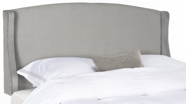 Safavieh Austin Headboard Twin Winged Pewter and Silver Fabric Wood Metal Plywood Polyester Foam Iron Stainless Steel MCR4003G-T 889048159600