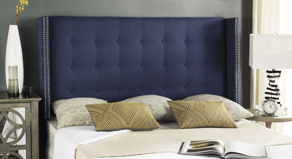 Safavieh Keegan Headboard Queen Tufted Winged Navy and Brass Nail Heads Fabric Wood Metal Plywood Linen Foam Stainless Steel MCR4006E-Q 889048158665