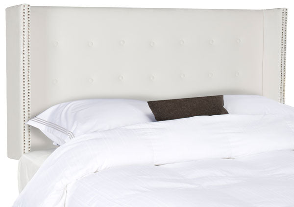 Safavieh Keegan Headboard Queen Velvet Tufted Winged White and Silver Nail Heads Fabric Wood Metal Plywood FoamSteelMCR4006H-Q 889048158696