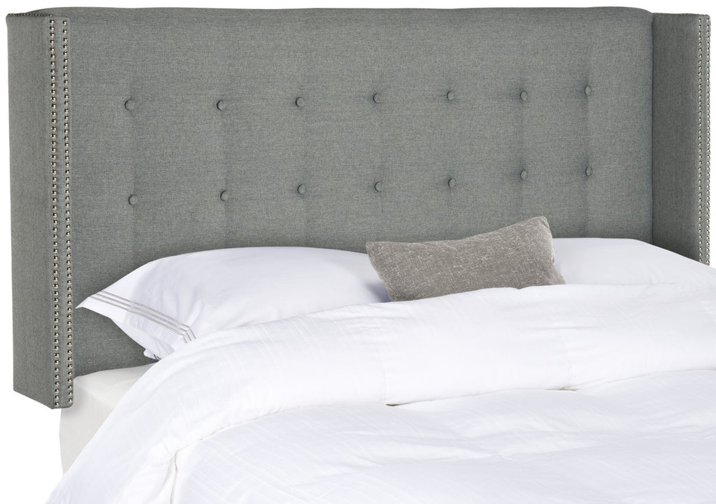 Safavieh Keegan Headboard Full Tufted Winged Grey and Silver Nail Heads Fabric Wood Metal Plywood Linen Foam Stainless Steel MCR4007D-F 889048158948