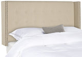 Safavieh Keegan Headboard Full Hemp and Brass Nailheads Fabric Wood Metal Plywood Linen Foam Stainless Steal MCR4007J-F 889048158993
