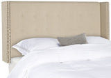 Safavieh Keegan Headboard Twin Hemp and Brass Nailheads Fabric Wood Metal Plywood Linen Foam Stainless Steal MCR4007J-T 889048159136