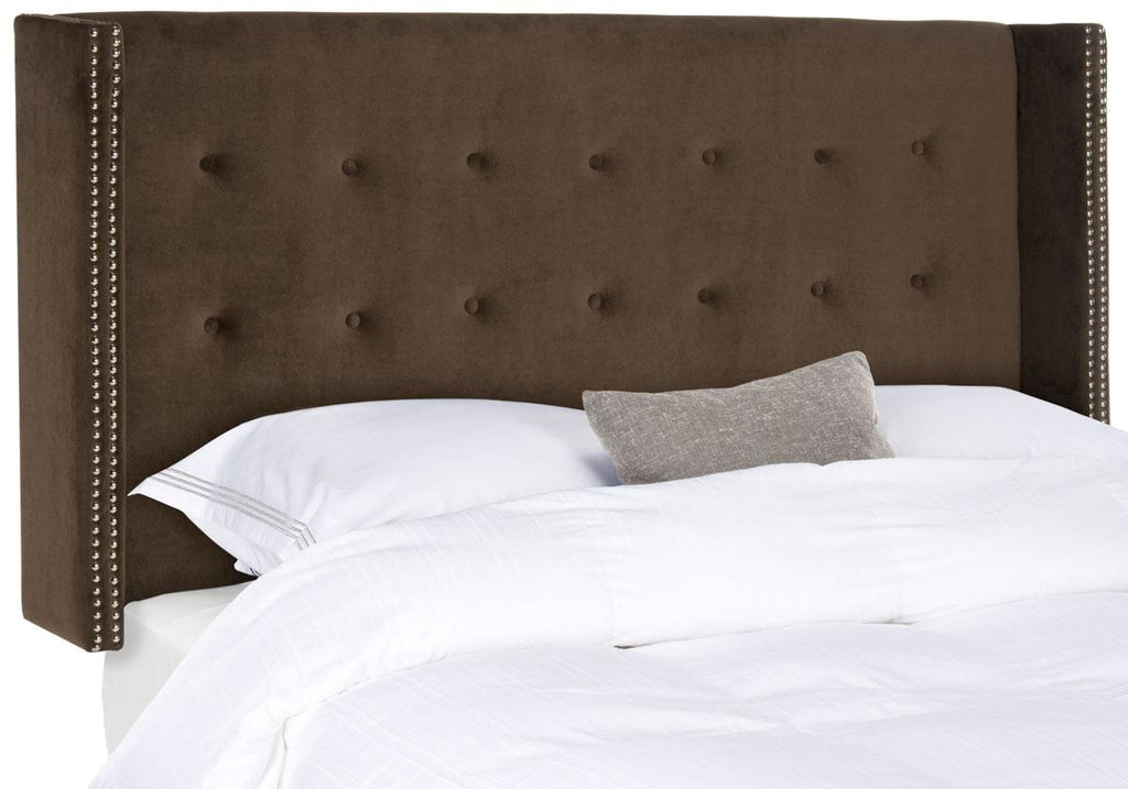 Safavieh Keegan Headboard Twin Velvet Chocolate and Silver Nail Heads Fabric Wood Metal Plywood Foam Stainless Steel MCR4007P-T 889048159181