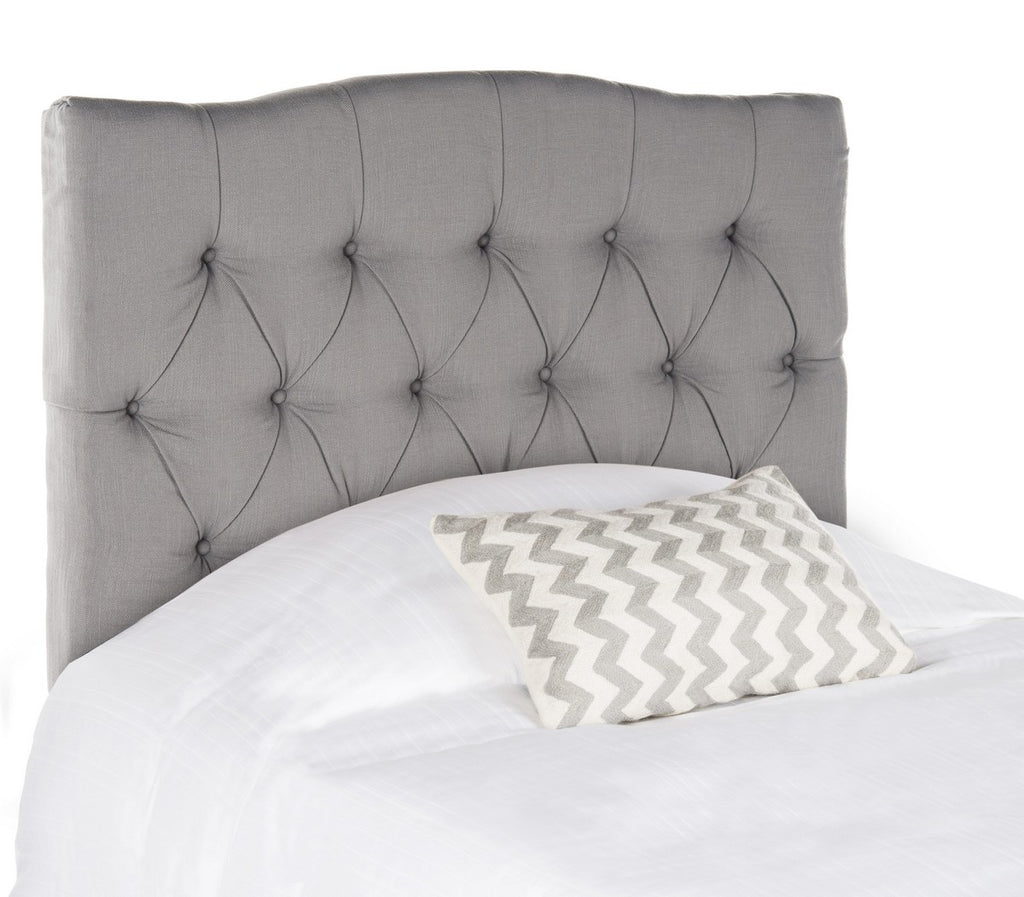 Safavieh Axel Headboard Twin Tufted Arctic Grey Metal with Buttons Plywood Terelyne Cotton Rayon Foam Iron MCR4028C 683726672371