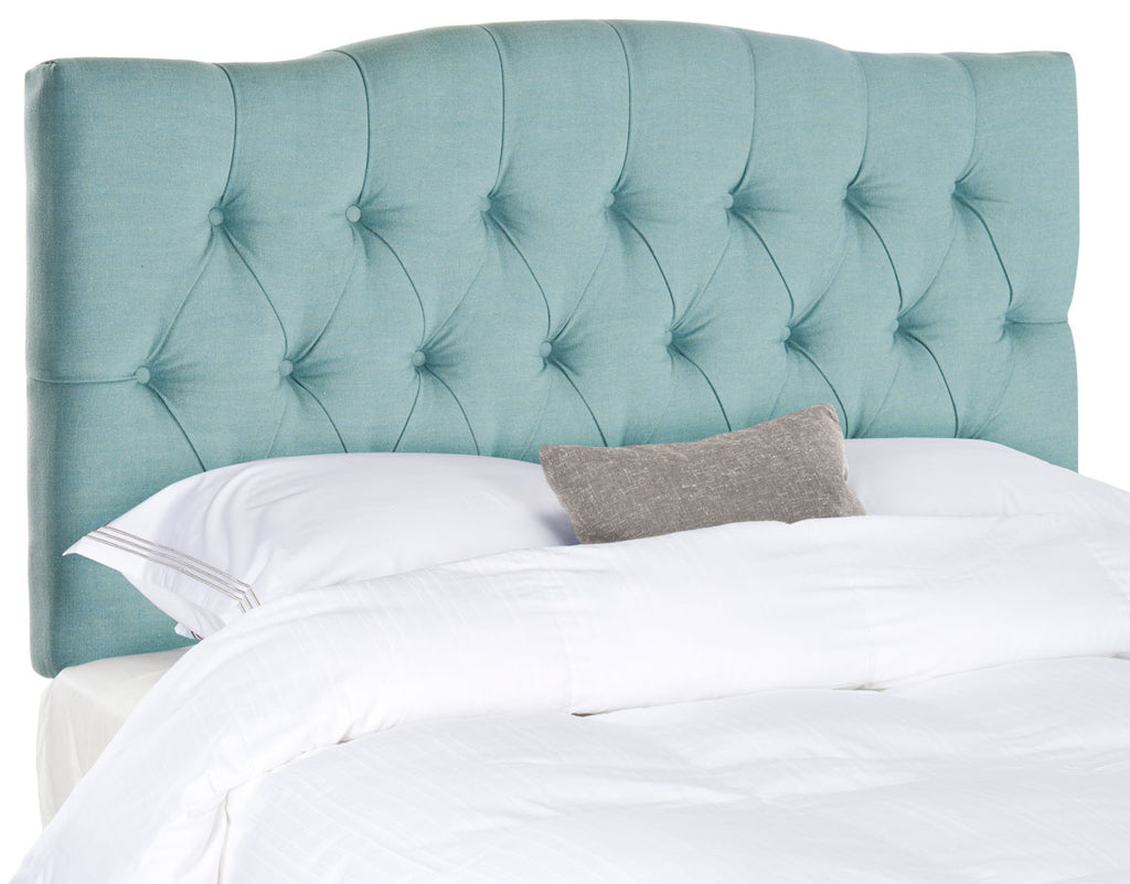 Safavieh Axel Headboard Twin Tufted Sky Blue Metal with Buttons Plywood Polyester Cotton Linen Foam Iron MCR4028D 683726672388