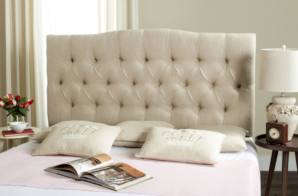 Safavieh Axel Headboard Twin Tufted Hemp Metal with Buttons Plywood Linen Foam Iron MCR4028K-T 889048146501