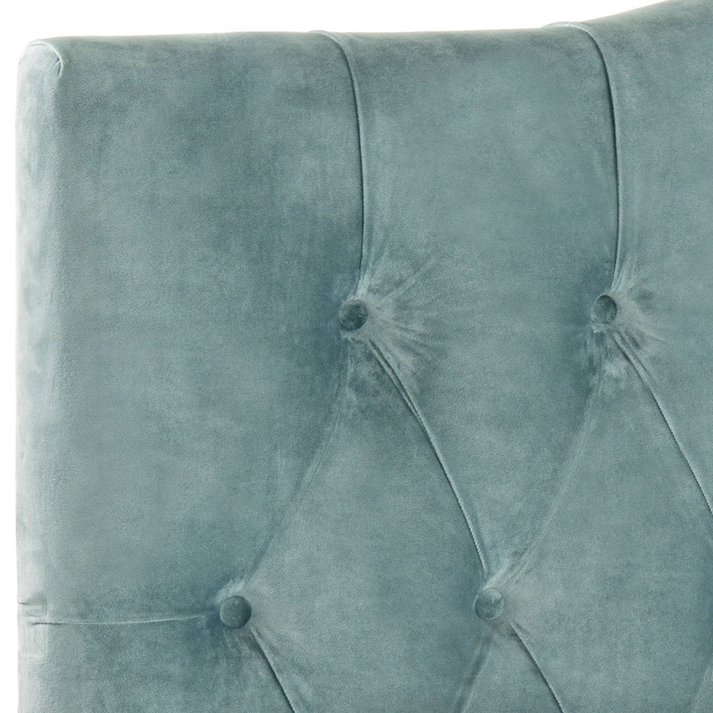Safavieh Axel Headboard King Tufted Wedgwood Blue Metal with Buttons Plywood Cotton Foam Iron MCR4029A 683726672463