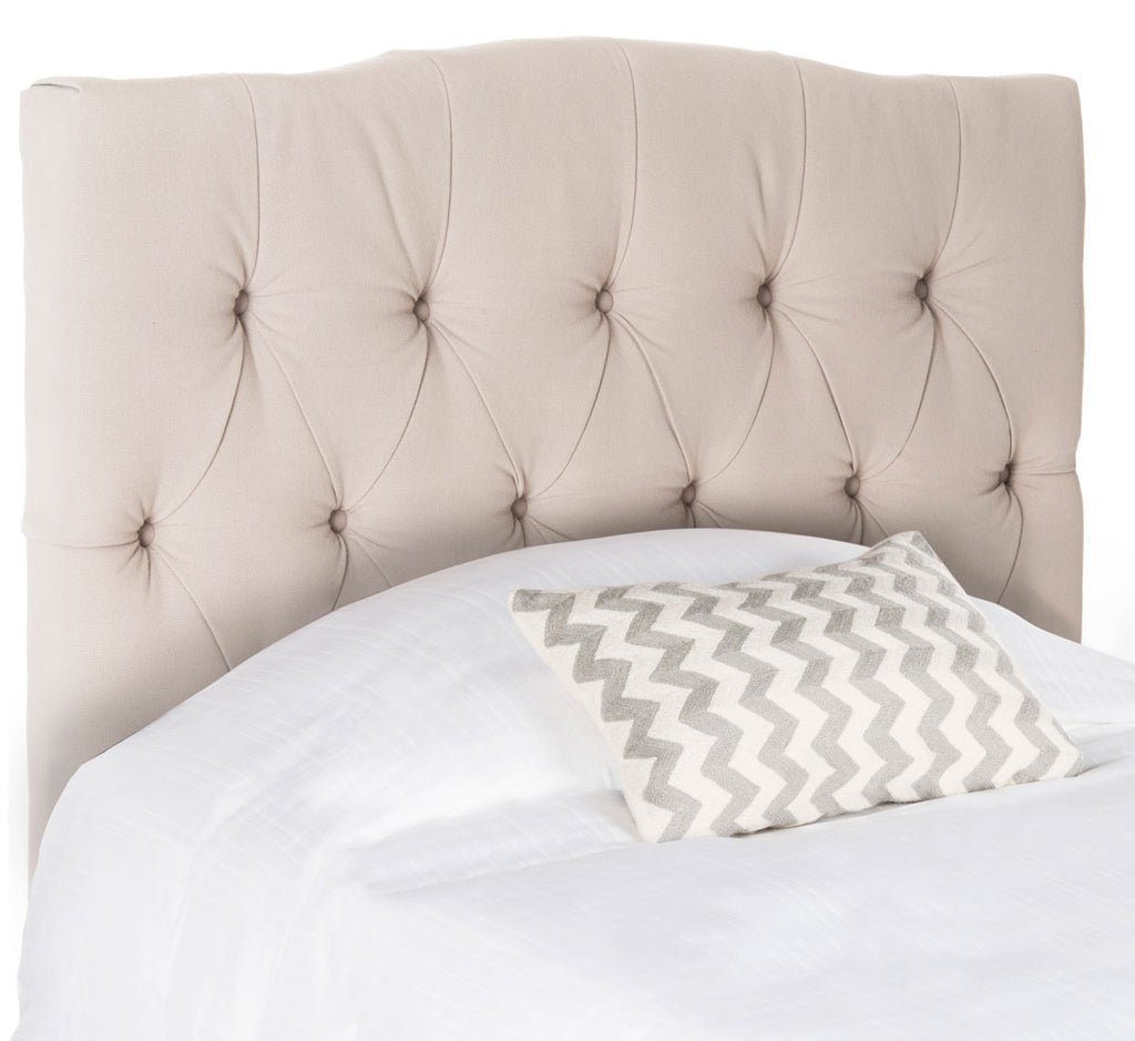 Safavieh Axel Headboard King Tufted Taupe Metal with Buttons Plywood Linen Foam Iron MCR4029B 683726672470