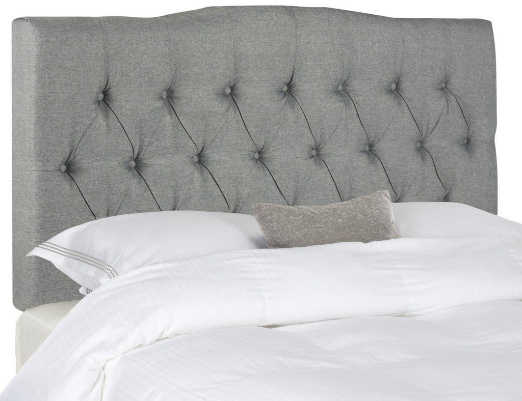 Safavieh Axel Headboard King Tufted Grey Metal with Buttons Plywood Linen Foam Iron MCR4029E-K 889048146518