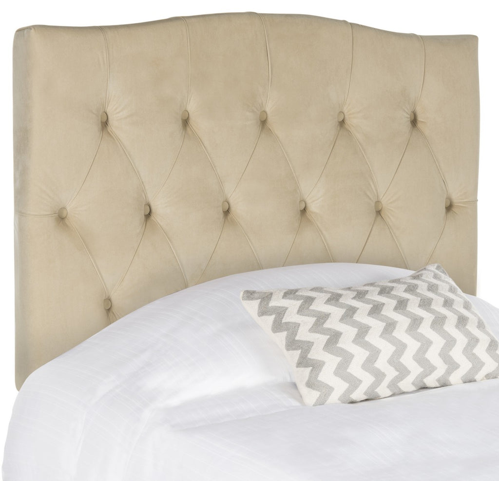 Safavieh Axel Headboard King Velvet Tufted Buckwheat Metal with Buttons Plywood Foam Iron MCR4029G-K 889048146532