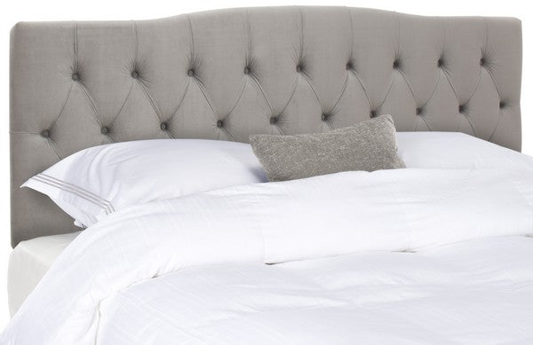 Safavieh Axel Headboard King Tufted Pewter Metal with Buttons Plywood Linen Foam Iron MCR4029H-K 889048146549
