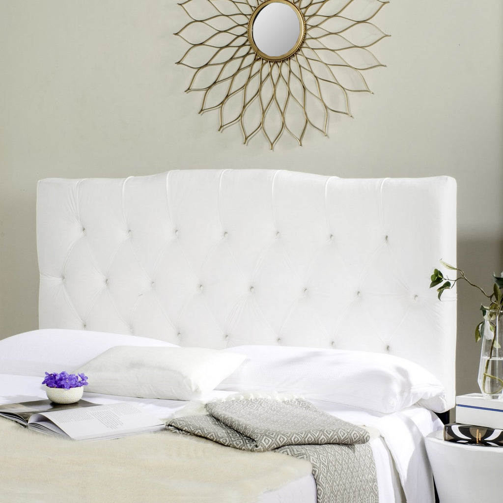 Safavieh Axel Headboard King Tufted White Metal with Buttons Plywood Velvet Foam Iron MCR4029J-K 889048146556