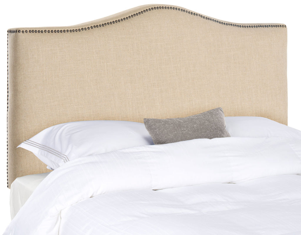 Safavieh Jeneve Headboard King Winged Hemp and Brass Fabric Wood Metal Plywood Linen Foam Iron Stainless Steel MCR4031A 683726673545