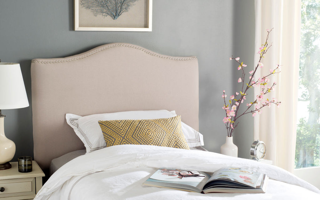 Safavieh Jeneve Headboard King Winged Taupe and Silver Fabric Wood Metal Plywood Linen Foam Iron Stainless Steel MCR4031C 683726673590