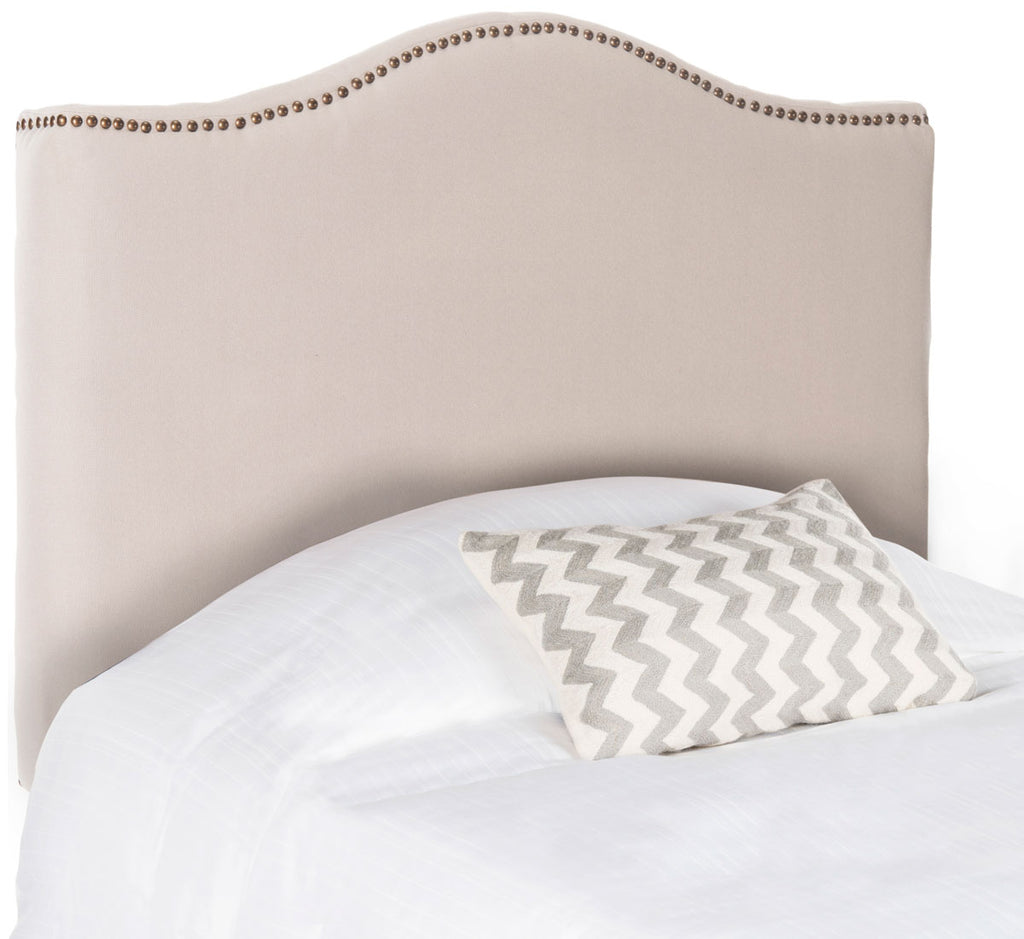 Safavieh Jeneve Headboard King Winged Taupe and Brass Fabric Wood Metal Plywood Linen Foam Iron Stainless Steel MCR4031D 683726673606