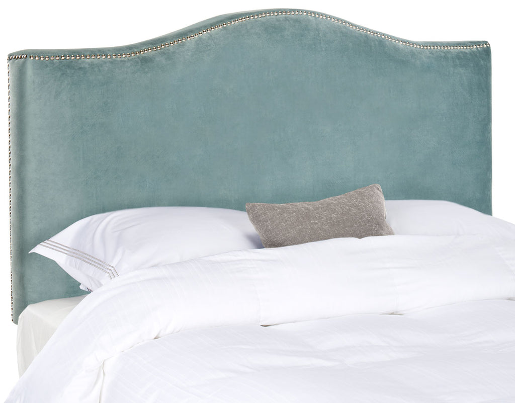 Safavieh Jeneve Headboard King Winged Wedgwood Blue and Silver Fabric Wood Metal Plywood Cotton Foam Iron Stainless Steel MCR4031E 683726673620