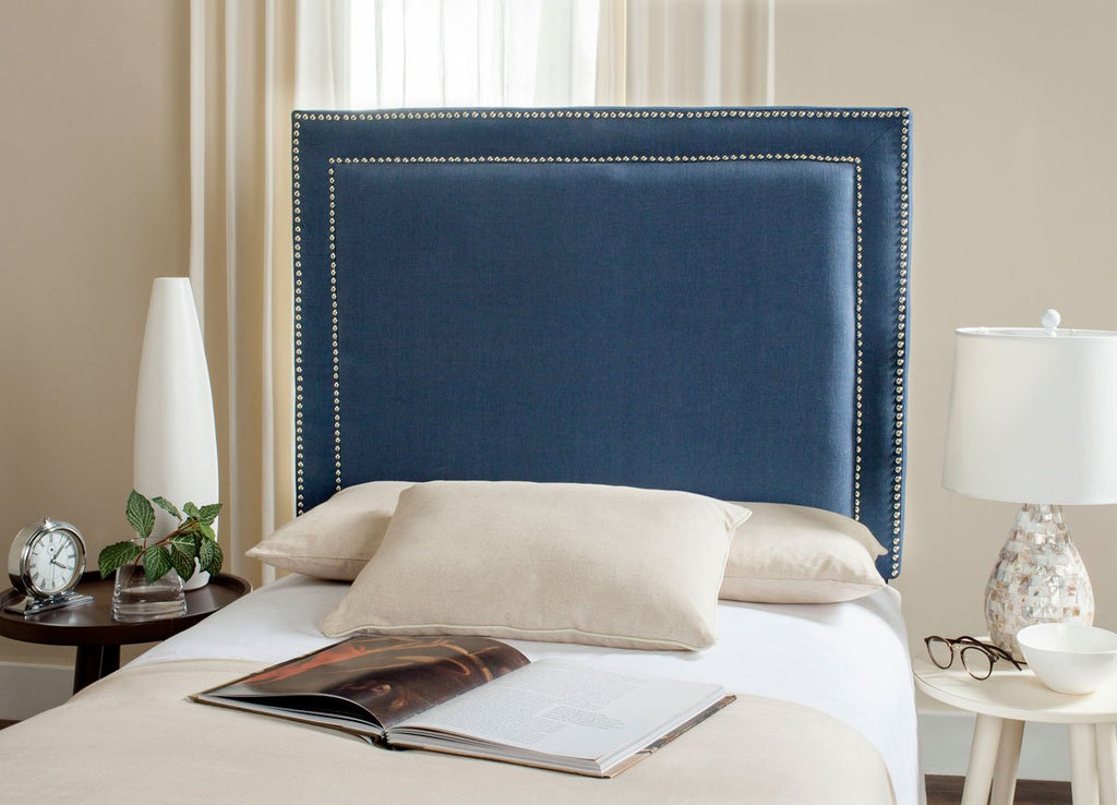 Safavieh Cory Headboard King Navy and Silver Fabric Wood Metal Plywood Viscose Linen Polyester Foam Stainless Steel MCR4043F 683726741183