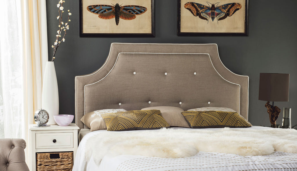 Tallulah Light Oyster Arched Tufted Headboard English Elm
