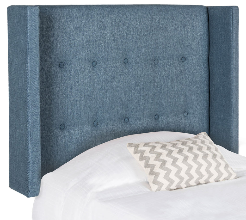Safavieh Damon Headboard King Winged Denim Blue Fabric Wood Metal Plywood Polyester Viscose Cotton Foam Iron MCR4046D-K 889048012271