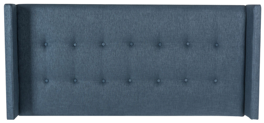 Safavieh Damon Headboard Twin Winged Denim Blue Fabric Wood Metal Plywood Polyester Viscose Cotton Foam Iron MCR4046D-T 889048012158