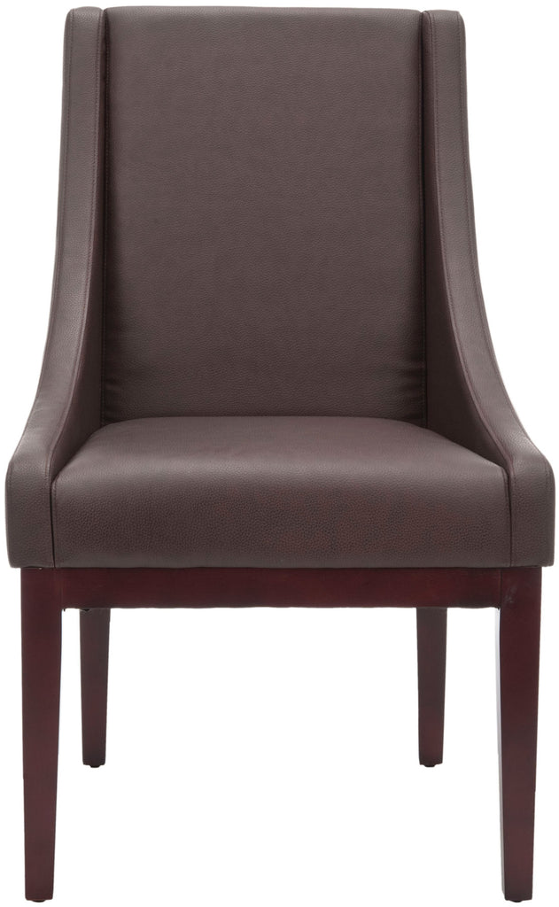 Safavieh Brown Armchair Leather Sloping Dark Cherry Wood Water Based Paint Birch CA Foam Polyester Fiber Bicast MCR4500C 683726745518