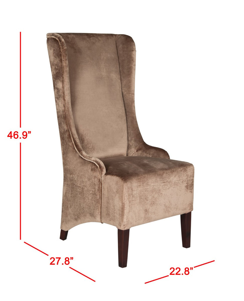 "Safavieh Becall Dining Chair 20""H Velvet Dark Champagne Cherry Mahogany Wood Water Based Paint Birch CA Foam Poly Fiber Cotton MCR4501A 683726310730"