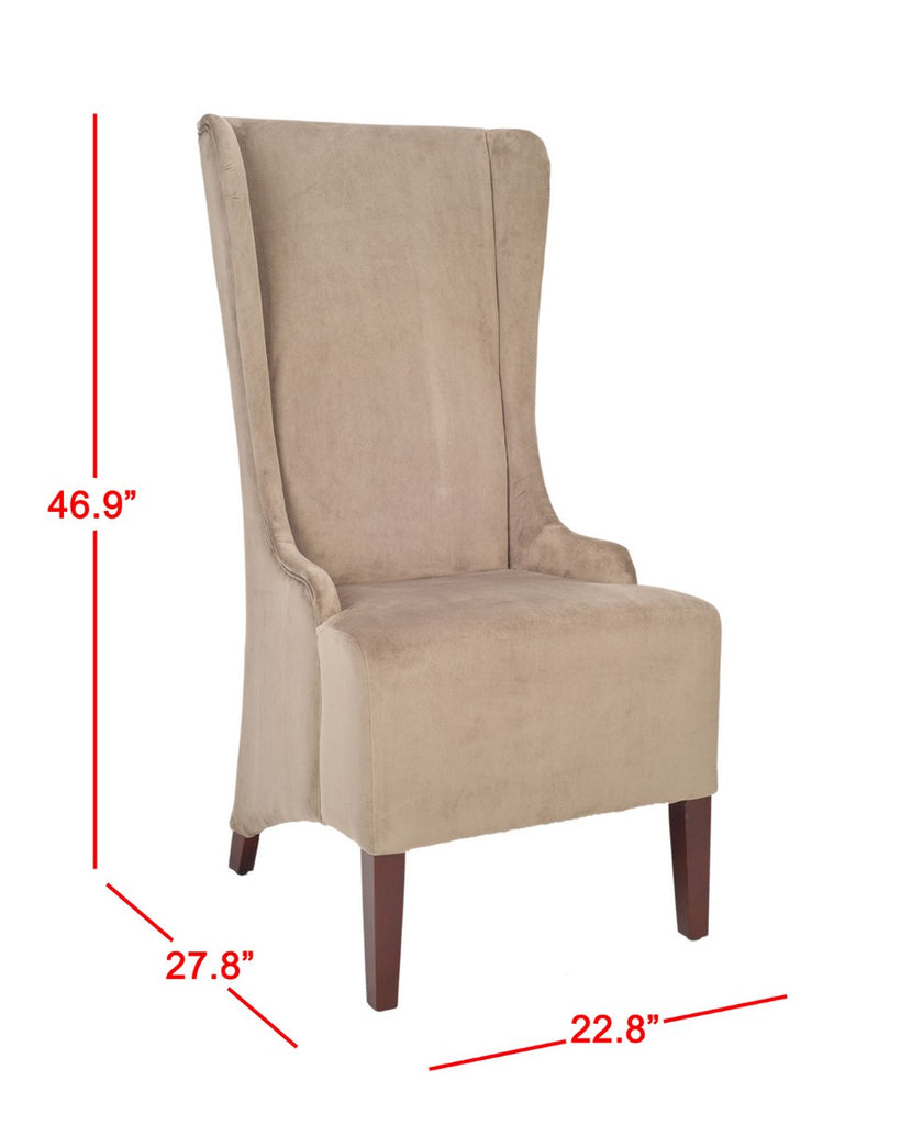 "Safavieh Becall Dining Chair 20""H Cotton Mushroom Taupe Cherry Mahogany Wood Water Based Paint Birch CA Foam Polyester Fiber MCR4501B 683726786474"