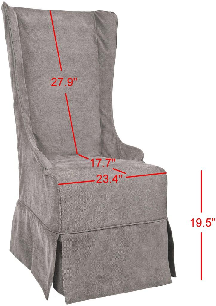 "Safavieh Becall Dining Chair 20""H Linen Bark Cherry Mahogany Wood Water Based Paint Birch CA Foam Polyester Fiber Cotton Poly MCR4501D 683726814290"