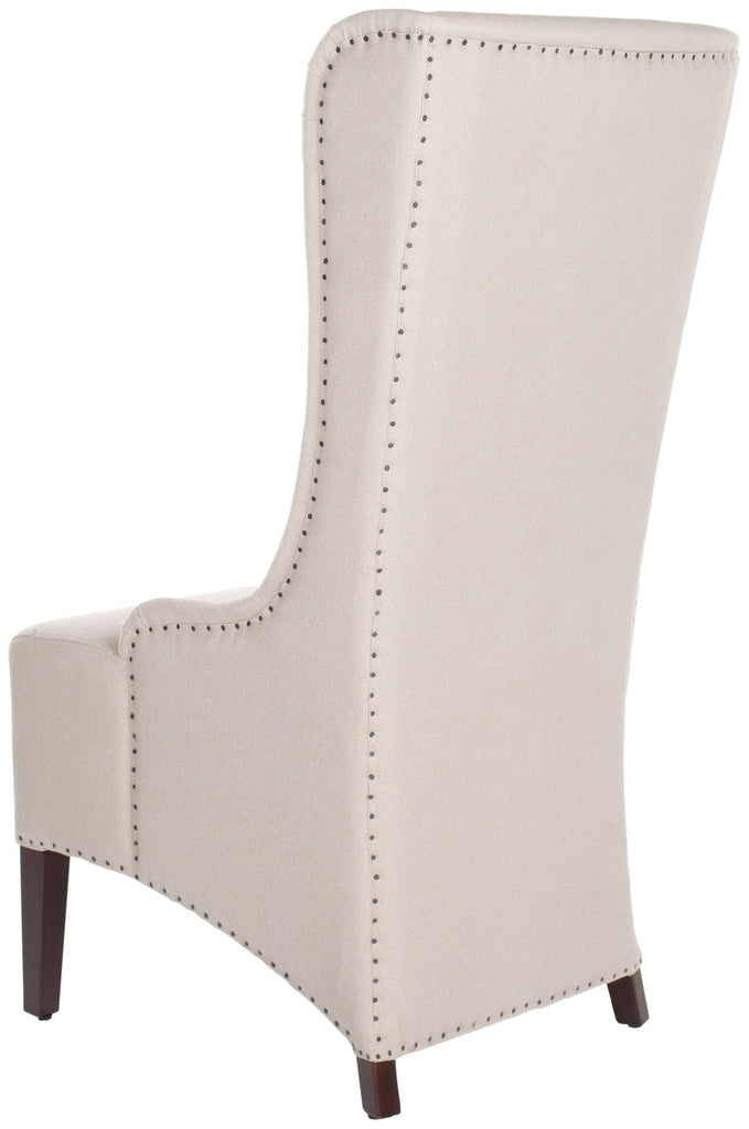 "Safavieh Becall Dining Chair 20""H Linen Taupe Black Cherry Mahogany Wood Water Based Paint Birch CA Foam Polyester FiberSteelMCR4501E 683726510437"
