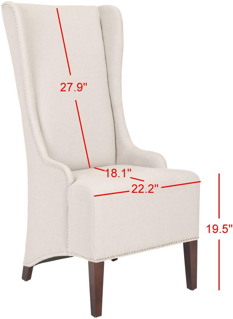 "Safavieh Becall Dining Chair 20""H Linen Taupe Silver Cherry Mahogany Wood Water Based Paint Birch CA Foam Polyester FiberSteelMCR4501F 683726510451"