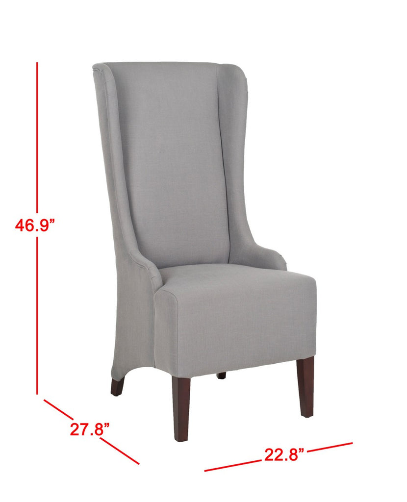 "Safavieh Becall Dining Chair 20""H Linen Arctic Grey Cherry Mahogany Wood Water Paint Birch Poly Fiber Rayon Terelyne Cotton MCR4501G 683726748922"