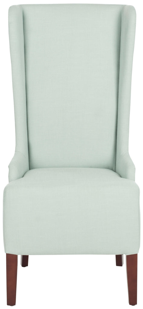 "Safavieh Becall Dining Chair 20""H Linen Seafoam Green Cherry Mahogany Wood Water Based Paint Birch Poly Fiber Cotton MCR4501J 683726748984"