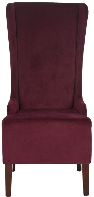 "Safavieh Becall Dining Chair 20""H Velvet Bordeaux Cherry Mahogany Wood Water Based Paint Birch CA Foam Polyester Fiber Cotton MCR4501K 683726368809"
