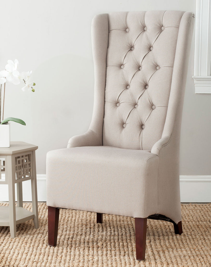 "Safavieh Becall Dining Chair 20""H Linen Taupe Cherry Mahogany Wood Water Based Paint Birch CA Foam Polyester Fiber MCR4501M 683726574781"