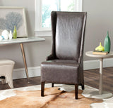 "Safavieh Becall Dining Chair 20""H Leather Antique Brown Espresso Wood Water Based Paint Birch CA Foam Polyester Fiber PU MCR4501N 683726705734"