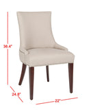 "Safavieh Becca Dining Chair 19""H Linen Taupe Cherry Mahogany Wood Water Based Paint Birch CA Foam Polyester FiberSteelMCR4502A 683726310747"