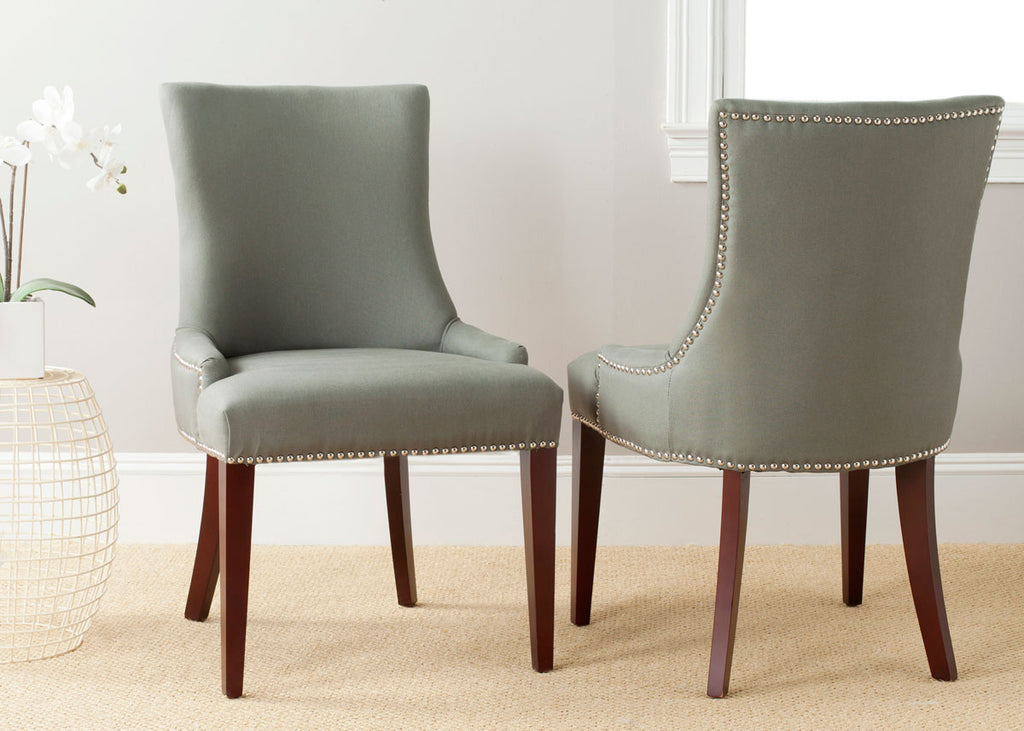 "Safavieh Becca Side Chair 19""H Leather Sea Mist Cherry Mahogany Wood Water Based Paint Birch CA Foam Polyester FiberSteelLinen MCR4502D 683726577249"